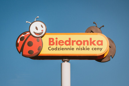 The logo of Biedronka, the largest discount supermarkets chain in Poland