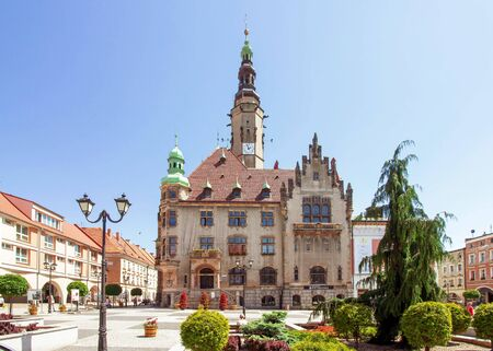 JAWOR, POLAND - picturesque neo-renaissance town hall in summer scenery