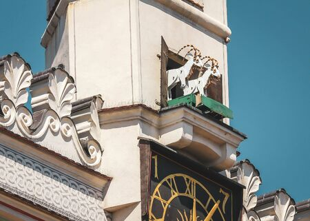 Fighting goats at the clock tower of the Poznan Town Hall, one of the symbols and main tourist attractions of Poznan, Poland