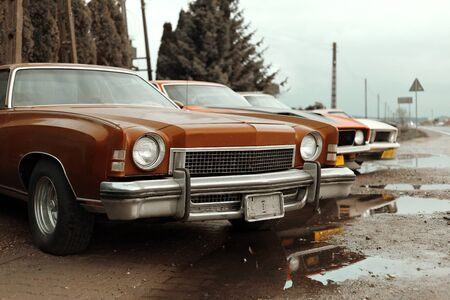 Classic American cars from the 1960s and 1970s parked along a local road