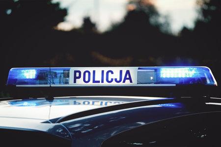 "Emergency lights on top of a Polish police (""Policja"") patrol car Stock Photo"