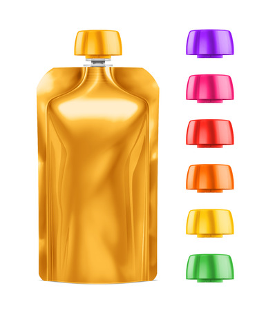 spout: Golden Blank Doy-pack, Doypack Foil Food Or Drink Bag Packaging With different colored Lids. Plastic Pack Template. Packaging Collection