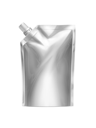 White Blank Doy-pack, Doypack Foil Food Or Drink Bag Packaging With Spout Lid. Plastic Pack Template. Packaging Collection