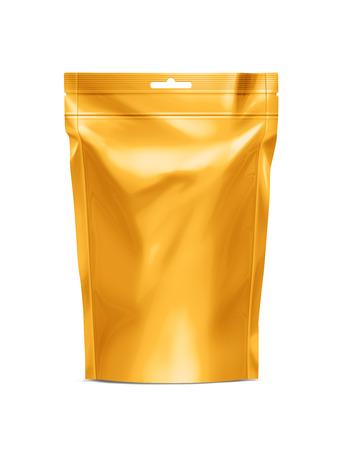 黄金空白 Doy-パック、zip ロック Doypack 箔食べ物または飲み物包装付きバッグ。プラスチック パックのテンプレート。パッケージ コレクション
