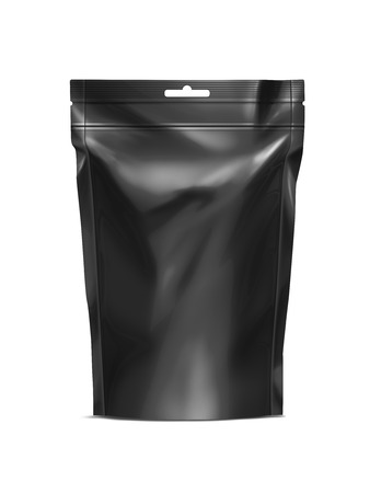 Black Blank Doy-pack, Doypack Foil Food Or Drink Bag Packaging With zip-lock. Plastic Pack Template. Packaging Collection