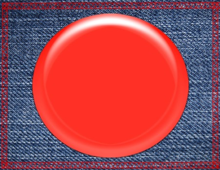 Red Button Pin on Blue Denim