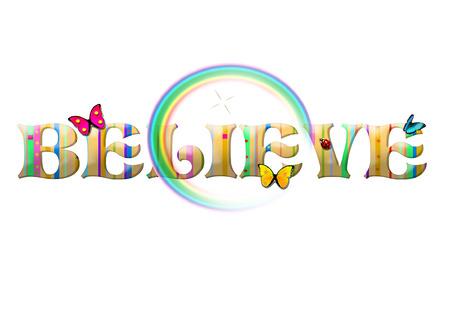 Colorful Believe Text with Butterflies, Ladybugs, and Rainbow Vettoriali