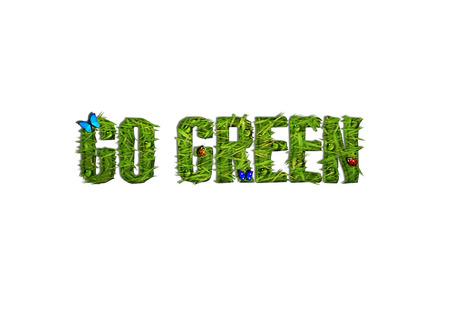 earth friendly: Cubierta de hierba go texto verde con mariposas, Ladybugs y Dropplets de agua