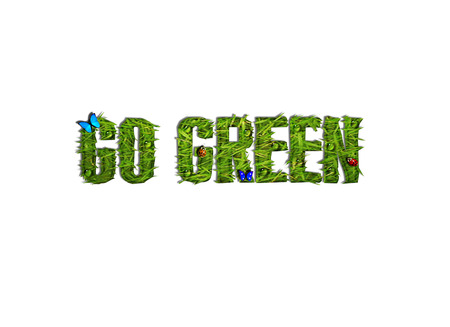 environmentally: Grassy Go Green Text with Butterflies, Ladybugs, and Water Dropplets Illustration