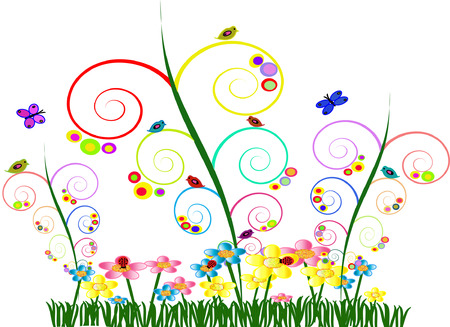 Colorful Whimsical Garden with Swirl Vines Colorful Circles Flowers Birds Butterflies and Ladybugs