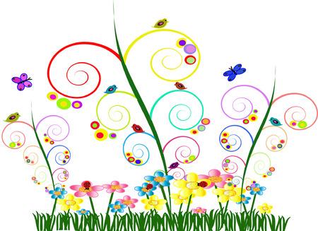 butterfly ladybird: Jard�n whimsical colorido con aspecto de remolino Vines colorida mariposas de aves de flores de c�rculos y Ladybugs