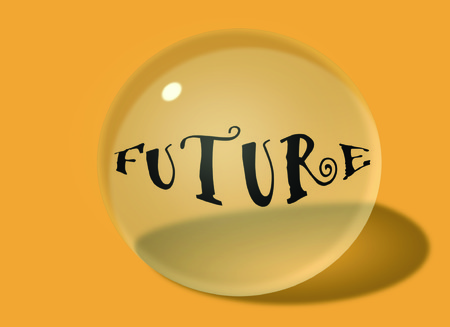 Future Word on 3D Transparent Glass Ball with Shadow, Light Reflection, and Dark Yellow Background