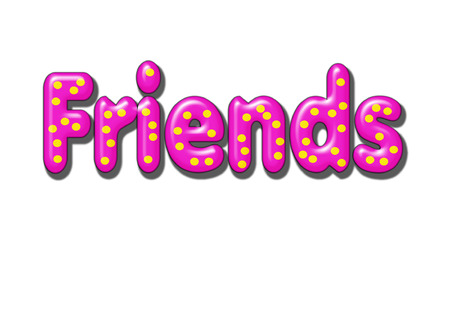 boy friend: Textured Pillowed Friends Word with Yellow Polka Dots on Transparent Background