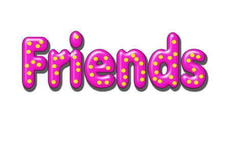 Texturierte Pillowed Freunde Wort mit gelb Polka Dots auf transparenten Hintergrund Standard-Bild - 7942265