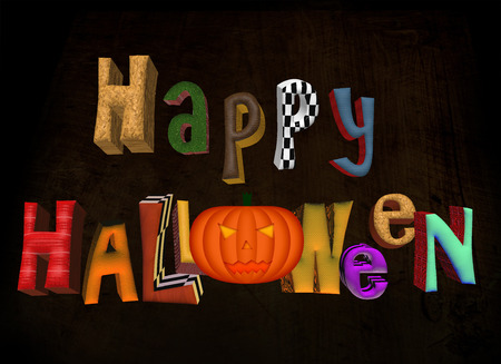 3D Multicolor Happy Halloween Words Sign with Pumpkin and Wooden Background