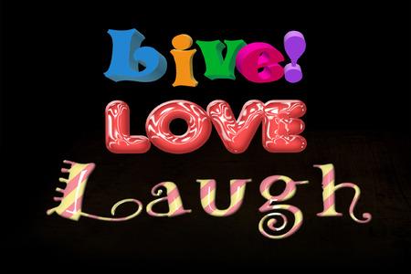 다채로운 3D 라이브 사랑 웃음 단어 단어 로그인 일러스트