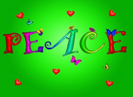 paloma de la paz: Coloridos signo pl�stico de Word de paz con corazones de aves de mariposas en segundo plano de degradado  Vectores