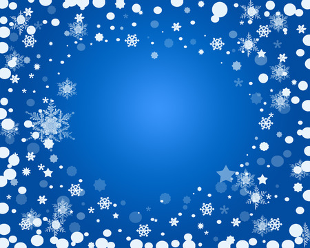 Christmas Snowflakes Background on  Blue Radial Gradient