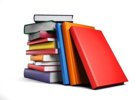 deberes: Pila de libros aislados sobre fondo blanco  Foto de archivo