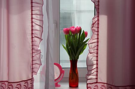 windowsill: Tulips bouquet on windowsill