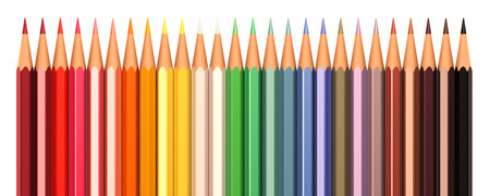 Color pencils in line isolated on a white background