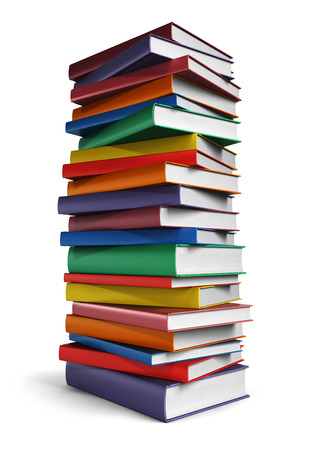 Pila alta de libros aislados sobre fondo blanco Foto de archivo - 43633793