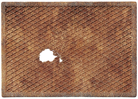 oxidized: Old rusty metal plate with a hole isolated on white