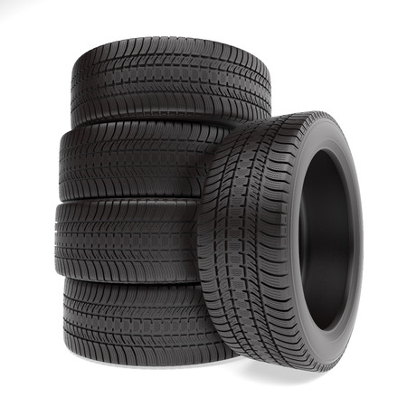 tyre tread: New tires stacked up and isolated on white background