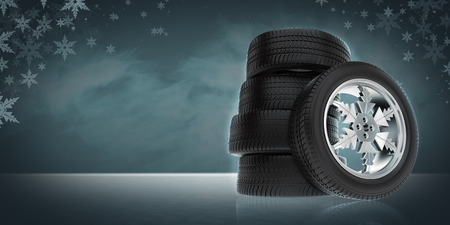 Background with ar winter wheels