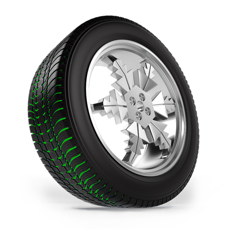 tread: Car winter wheel with separate tread on white background