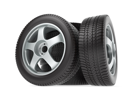 tire: New car wheel with winter tire isolated on white background