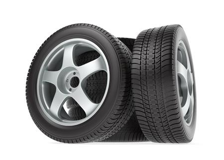 neumaticos: rueda nuevo coche con los neum�ticos de invierno aislados en el fondo blanco