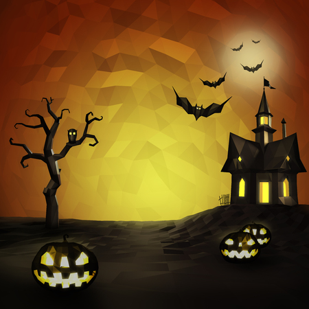 horror house: Halloween low poly composition with horror house and popular holiday attributes