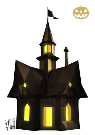horror house: Halloween horror house low poly on white background
