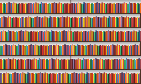 books library: Bookshelf with books - light seamless texture and background Stock Photo