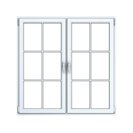 plastic window: Close plastic window frame isolated on white background