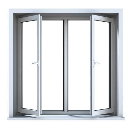 plastic window: Open plastic window isolated on white background