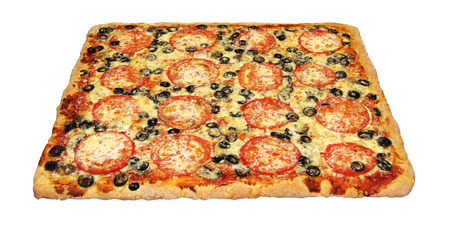 Tasty square pizza with vegetables isolated on white