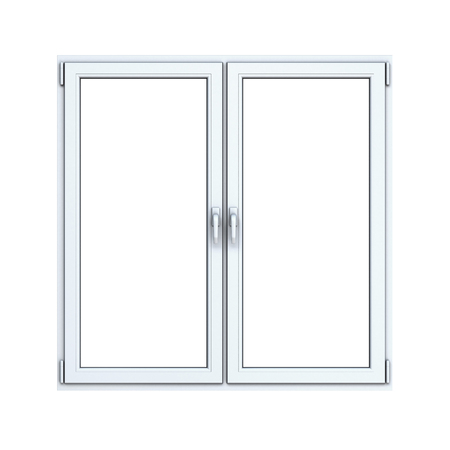 plastic window: Closed plastic window on white background Stock Photo