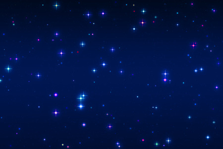star sky: background and texture with multi-colored and blue stars on blue Stock Photo