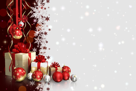 Christmas theme with glass balls and gift boxes and free space for text