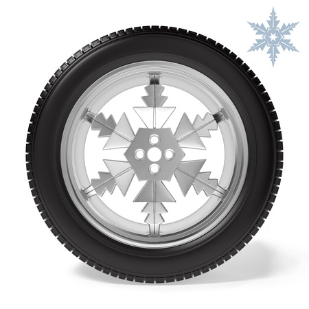 winter tyre: car wheel with the disc in the form of snowflakes. winter wheel with winter tyre on white background Stock Photo