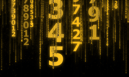 numbers abstract: the cyberspace with many sparkling falling lines numbers, abstract background with yellow digital lines