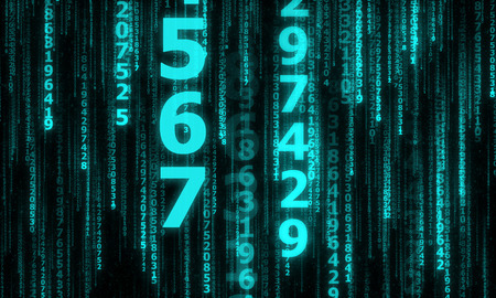 numbers abstract: the cyberspace with many sparkling falling lines numbers, abstract background with blue digital lines