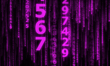 numbers abstract: the cyberspace with many sparkling falling lines numbers, abstract background with purple digital lines Stock Photo