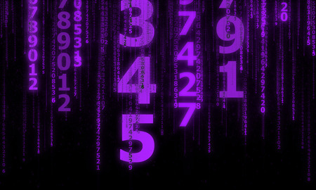 the cyberspace with many sparkling falling lines numbers, abstract background with lilac digital lines