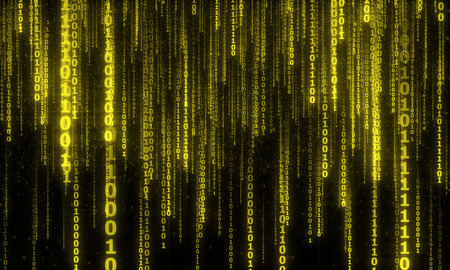 cyberspace with digital falling lines, binary hanging chain, abstract background with yellow digital lines