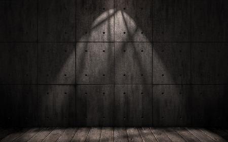 penumbra: grunge industrial background, dark underground room with walls of concrete slabs and wooden floor
