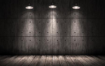 penumbra: grunge industrial background illuminated ceiling lamps