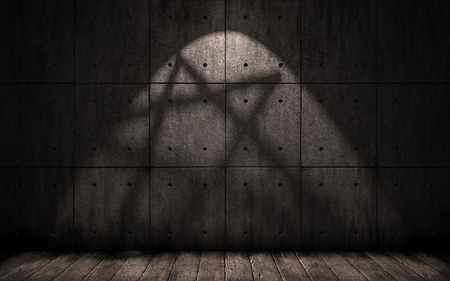 penumbra: grunge background with shadow in the shape of a pentagram, star Stock Photo